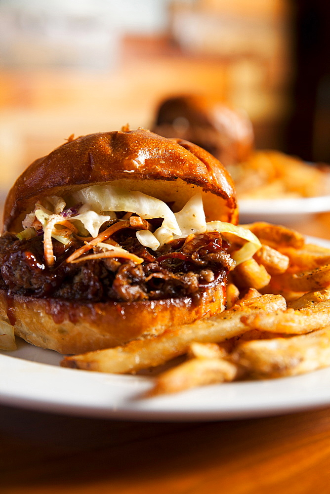 Barbecue sandwich witch coleslaw and french fries