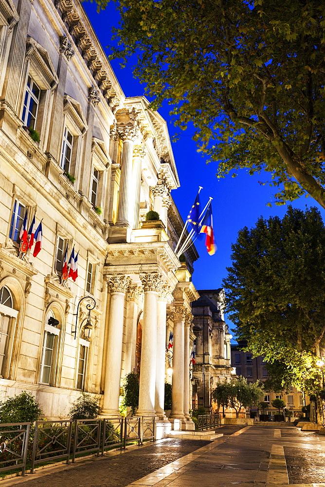 France, Provence-Alpes-Cote d'Azur, Avignon, Street at night