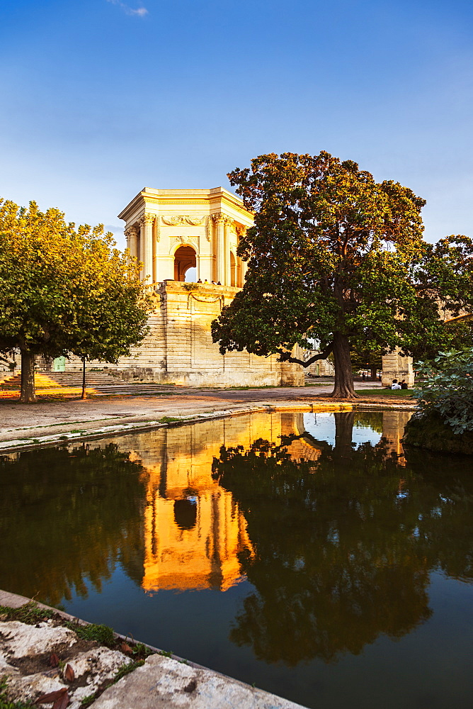 France, Occitanie, Montpellier, Pavillon du Peyrou at sunset