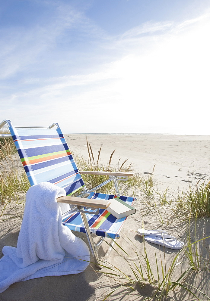 USA, Massachusetts, Nantucket Island, Empty lounge chair on Madaket Beach