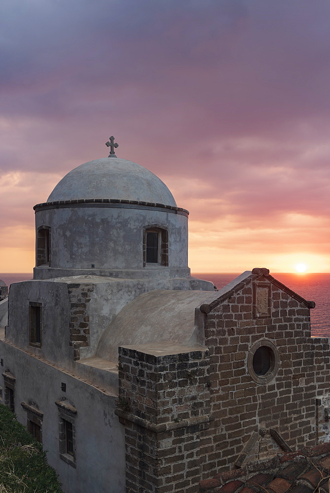 Church at sunrise in Monemvasia, Greece