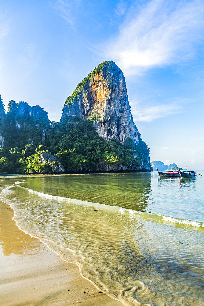 Cliff by beach in West Railay, Thailand