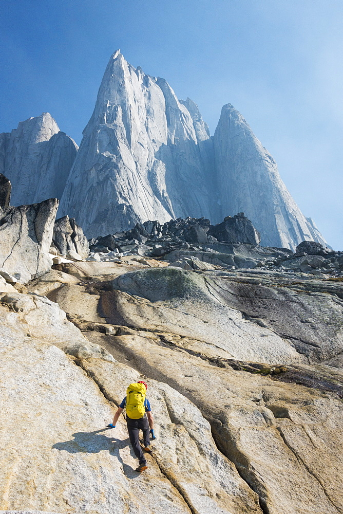 Man mountain climbing in Bugaboo Provincial Park, British Columbia, Canada