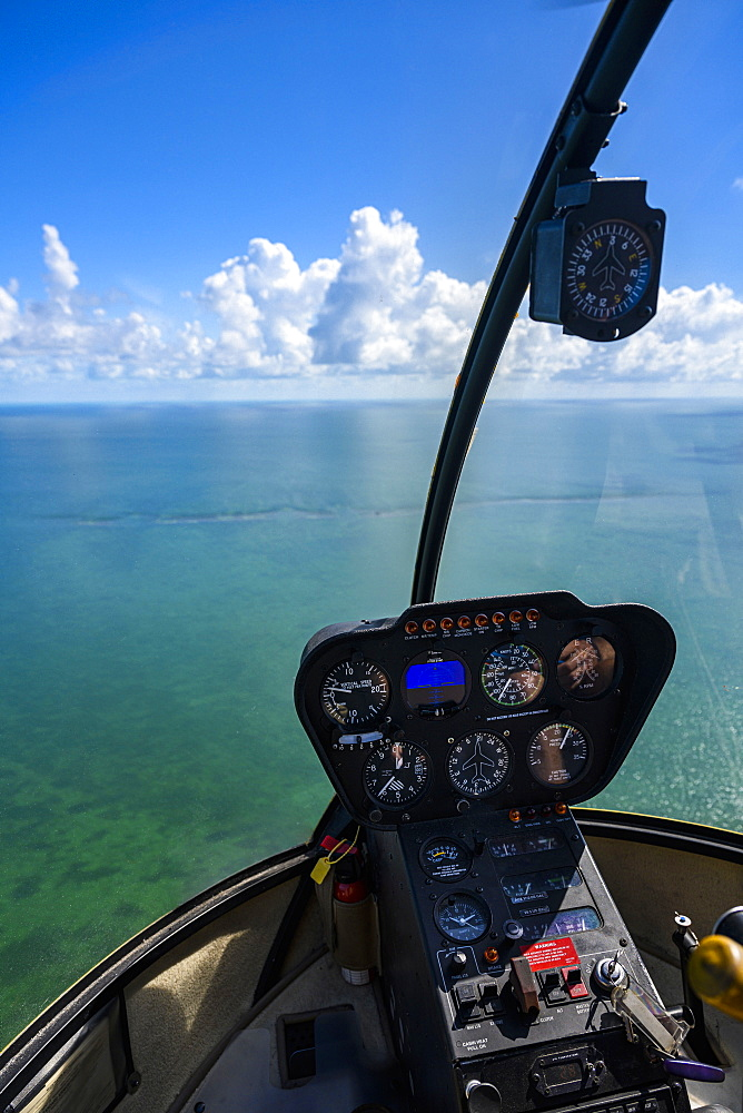 View through cockpit window of sea in Florida Keys, USA