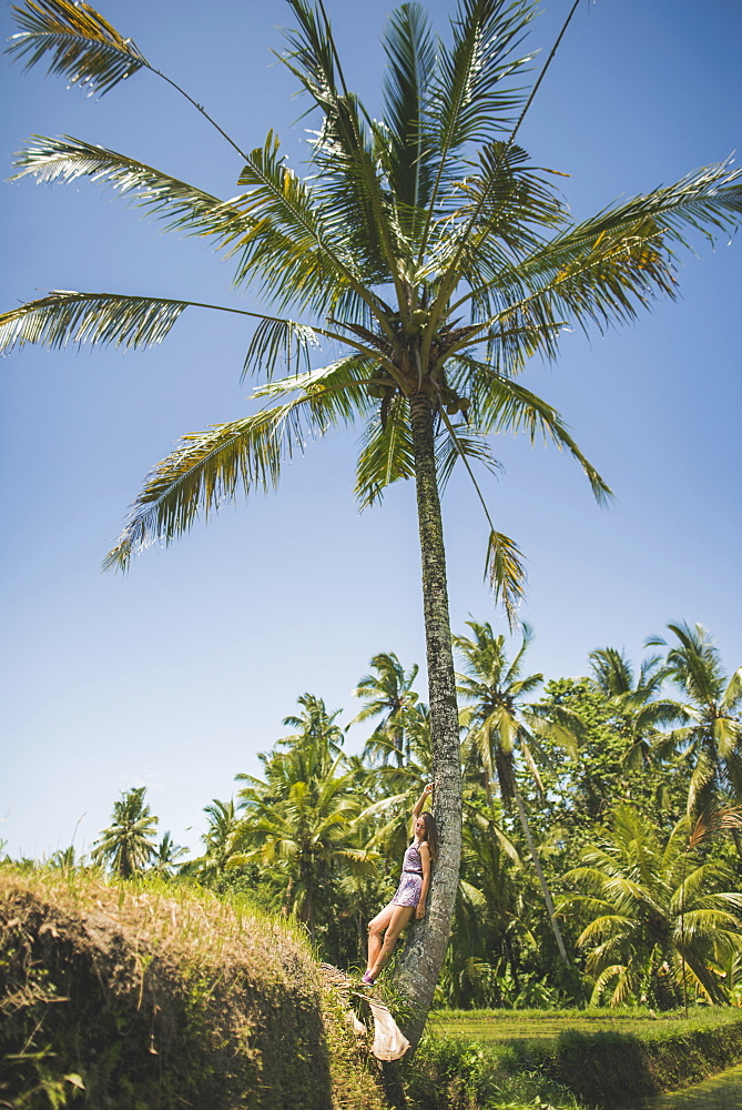 Woman leaning against palm tree in Bali, Indonesia