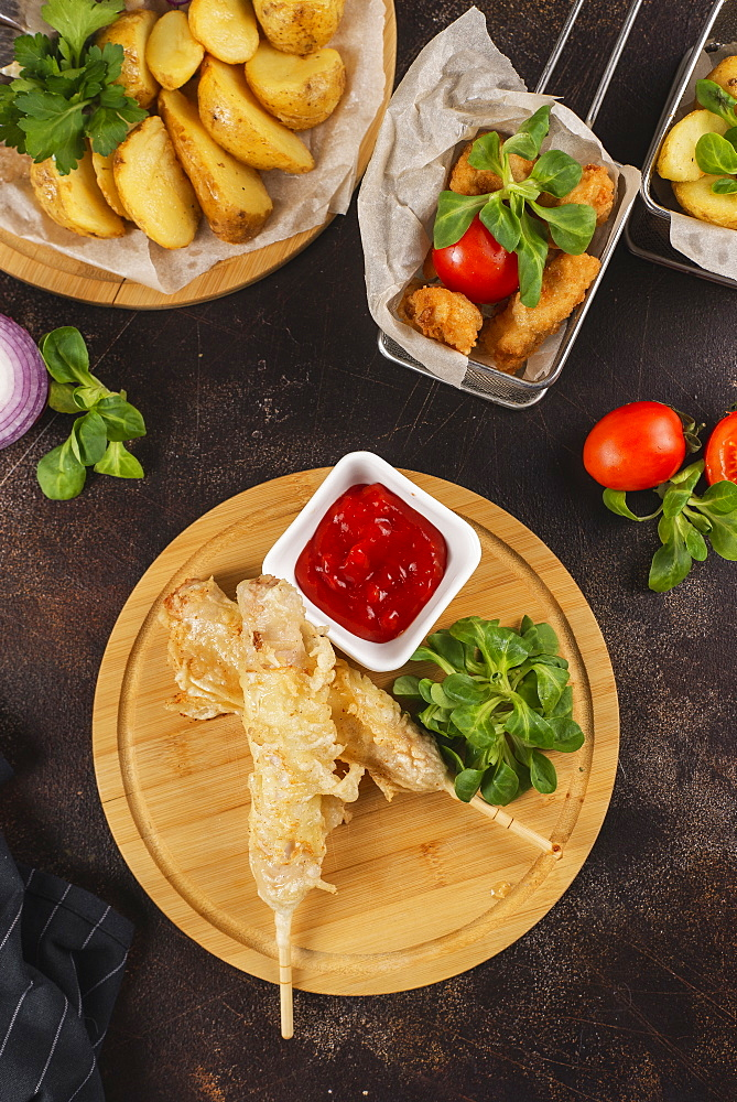 Deep fried food with tomato sauce - 1178-27746