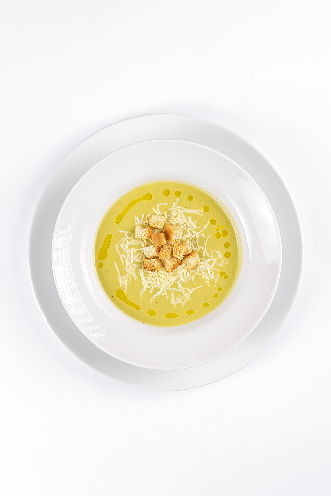 Soup with croutons and cheese
