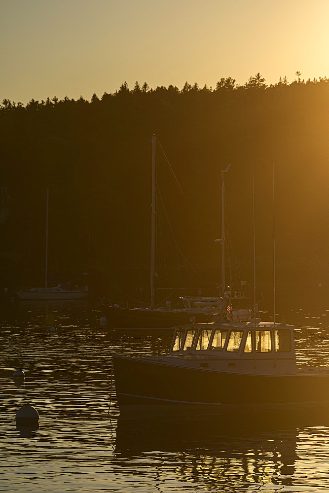 Boat at sunset in Seal Harbor, Mount Desert Island, USA