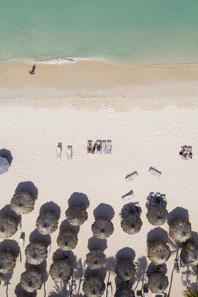 Aerial view of umbrellas on beach in Aruba, Caribbean