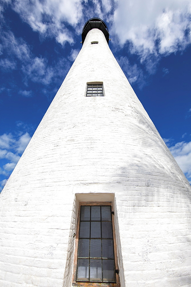 Low angle shot of white lighthouse against sky in Key Biscayne, Florida, United States of America
