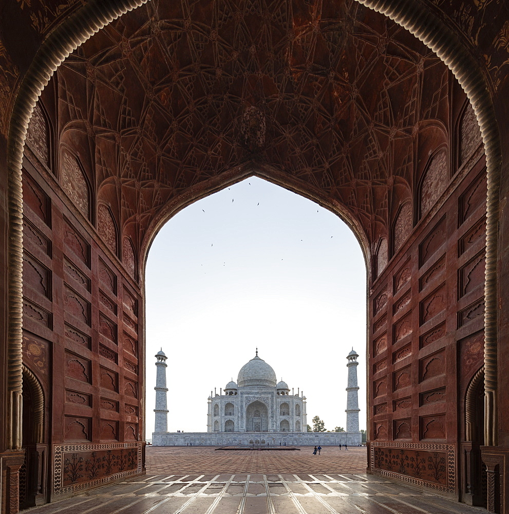 Taj Mahal behind arch in Agra, Uttar Pradesh, India