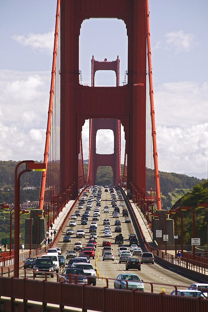 Traffic on the Golden Gate Bridge San Francisco California USA