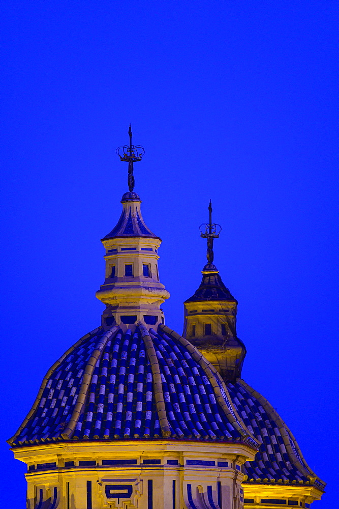 Domes of Church of Saint Louis of France at night in Seville, Andalusia, Spain