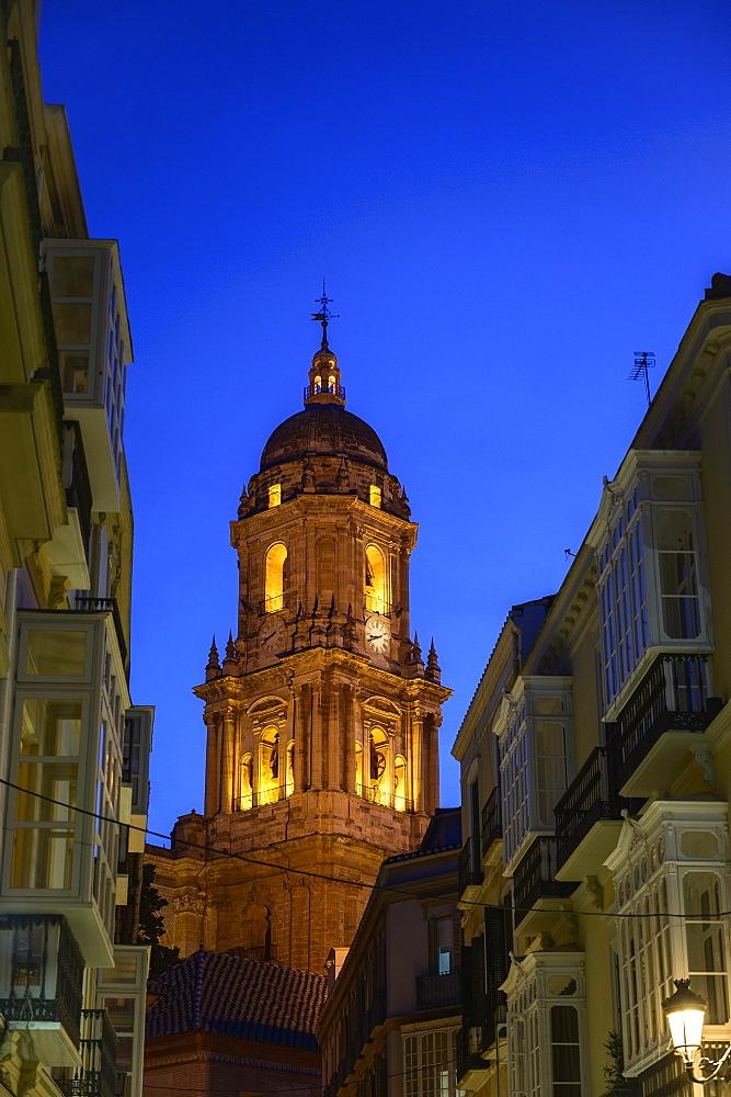 Cathedral of Malaga at night in Malaga, Spain