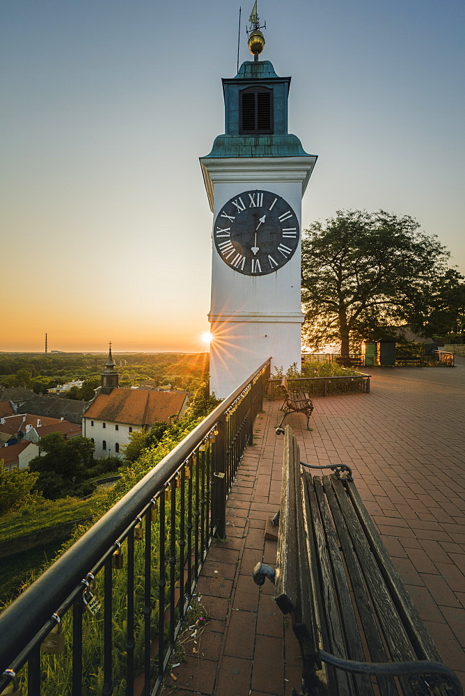 Clock tower at sunrise in Novi Sad, Serbia