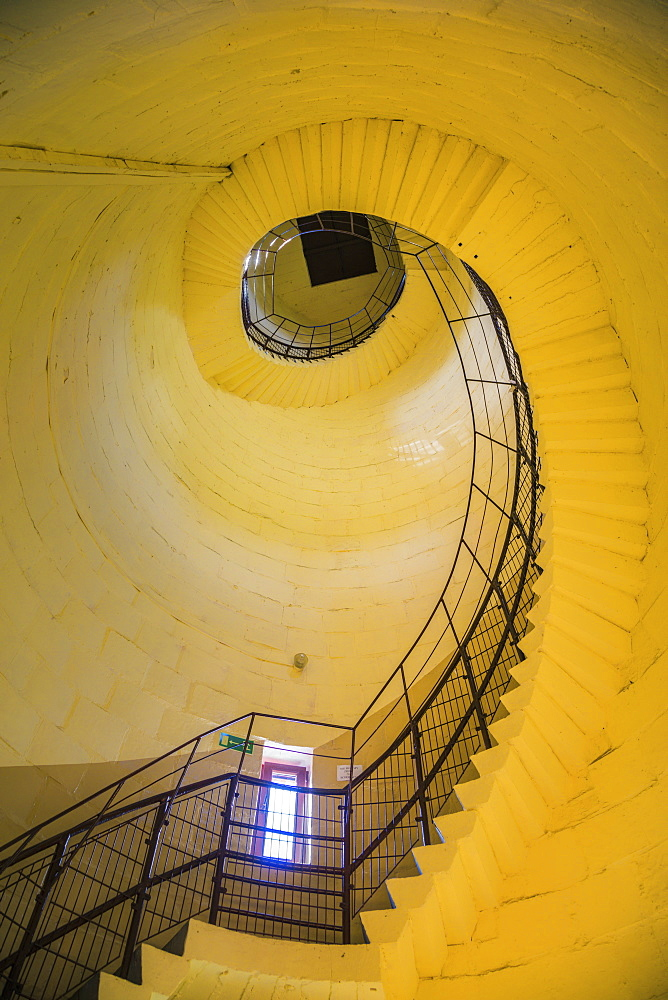 Spiral staircase inside lighthouse in Krynica Morska, Pomerania, Poland