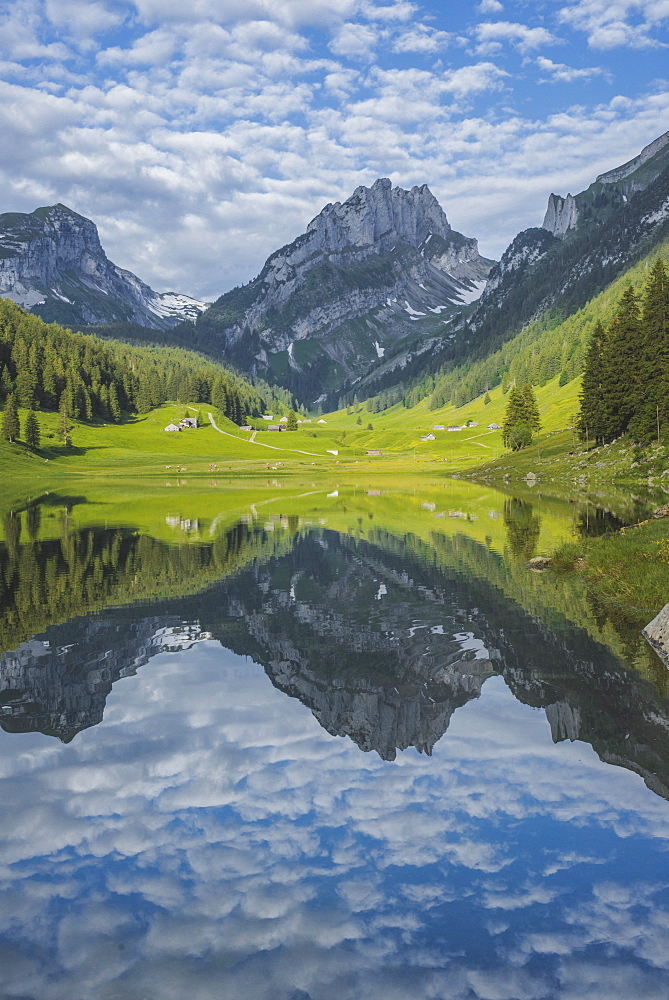 Lake and mountains in Samtisersee, Switzerland