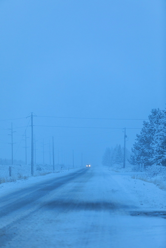 Snow on highway in Bellevue, Idaho