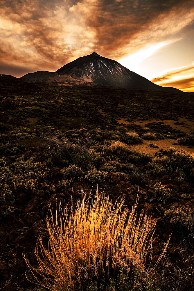 Mount Teide during sunset in Tenerife, Spain