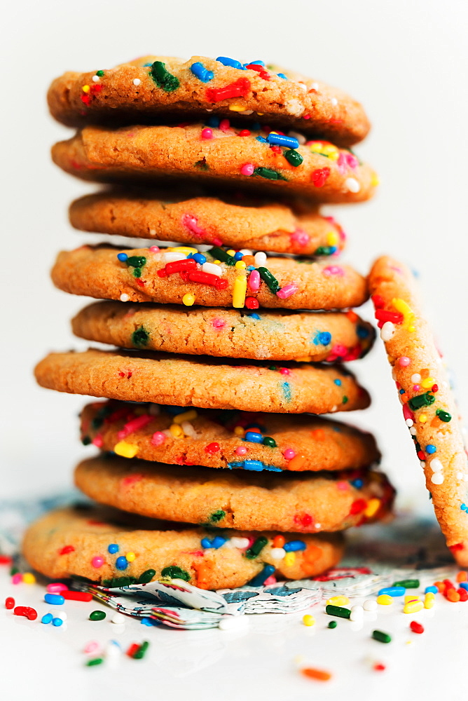 Pile of homemade cookies with colorful sprinkle