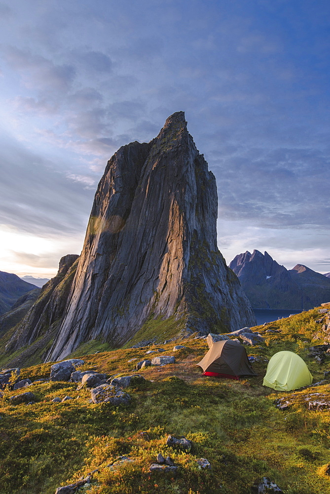 Norway, Senja, Two tents near Segla mountain at sunset