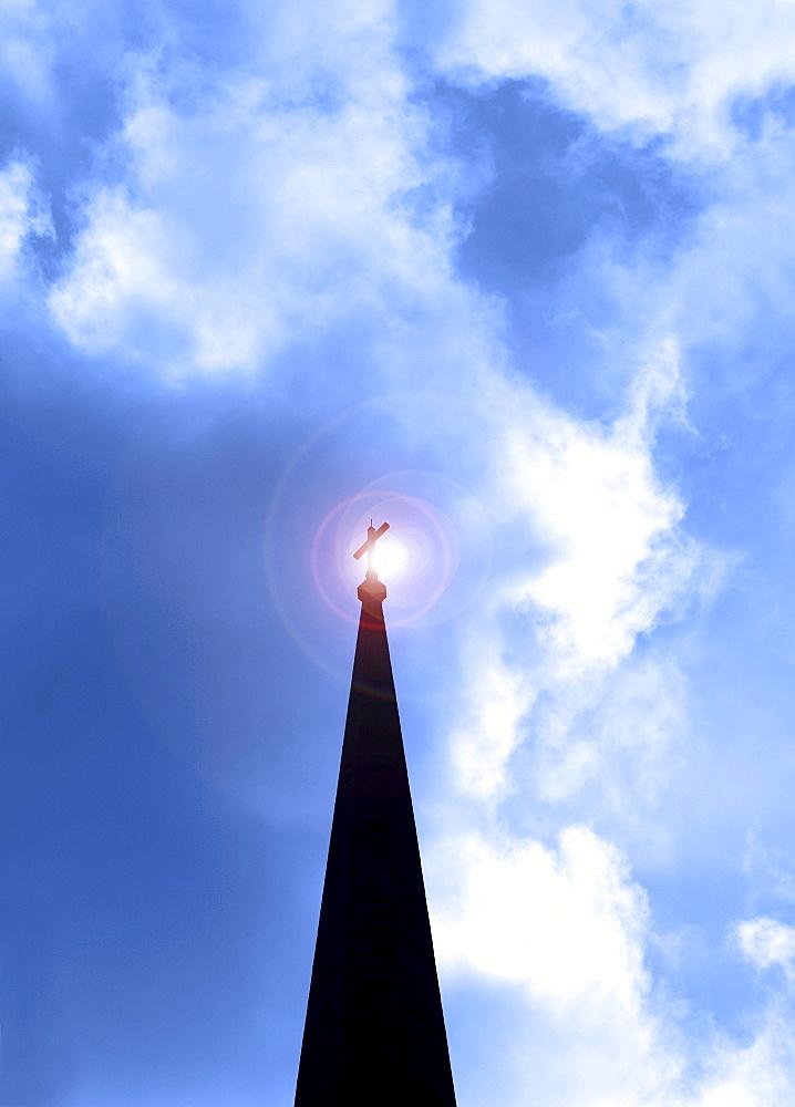 Silhouette of church steeple