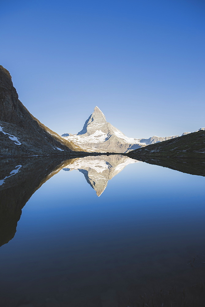 Matterhorn mountain and lake in Valais, Switzerland