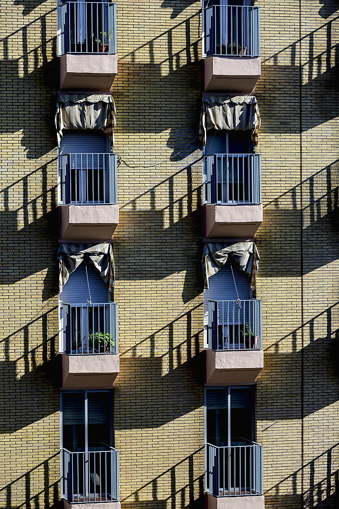 Spain, Andalusia, Seville, Pattern of residential building balconies