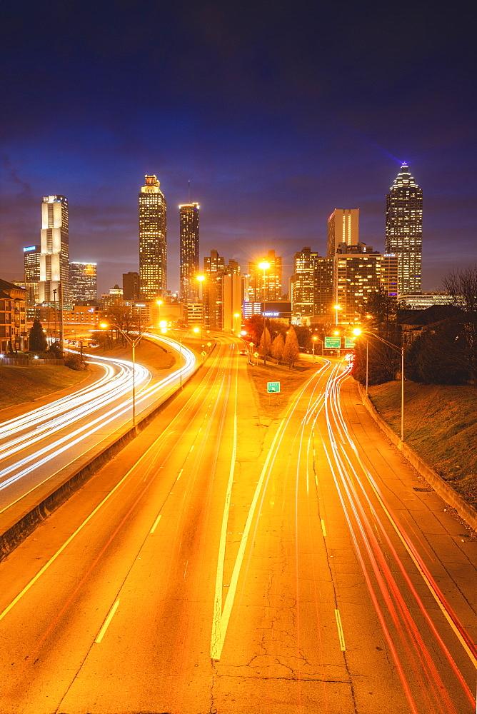 USA, Georgia, AtlantaTraffic on highway at night