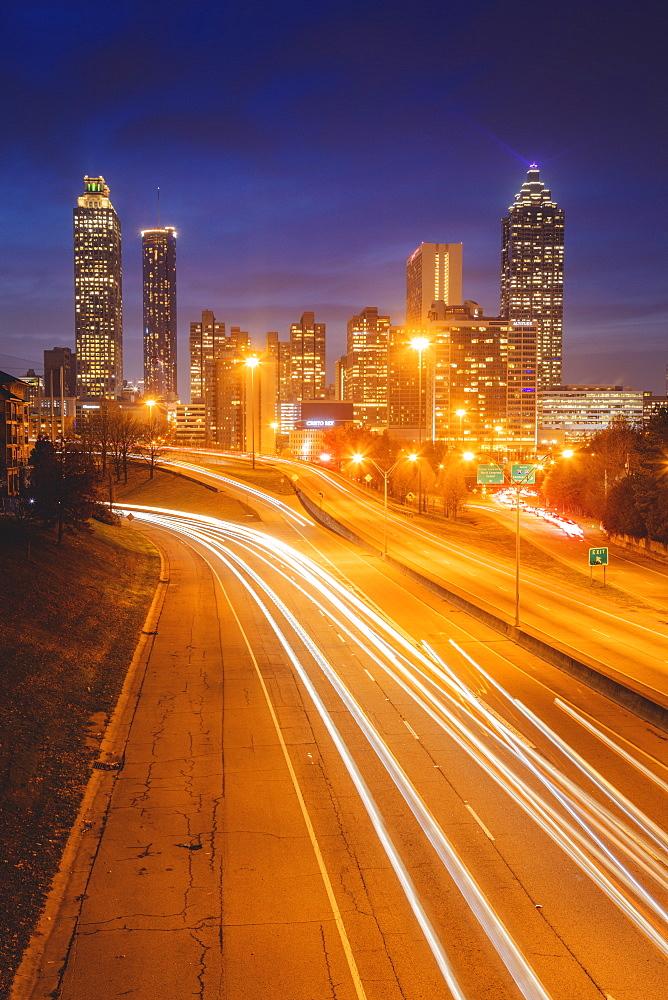 USA, Georgia, AtlantaTraffic light trails in city at night