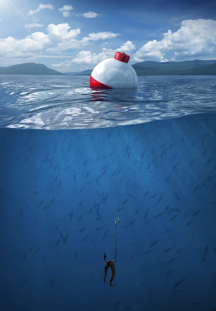 Fishing bobber floating on water