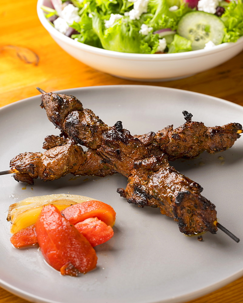 Steak kabob and Greek salad