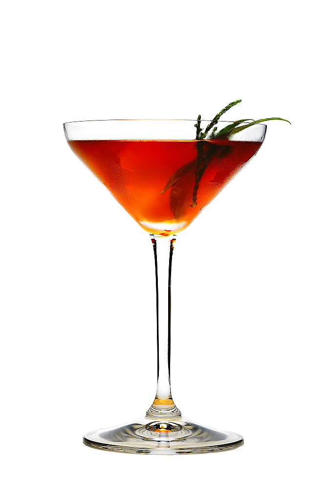 Elegant cocktail on white