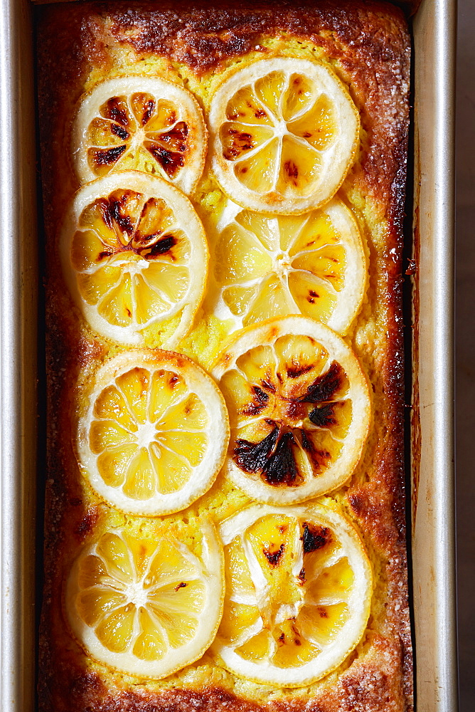 Lemon cake in baking pan