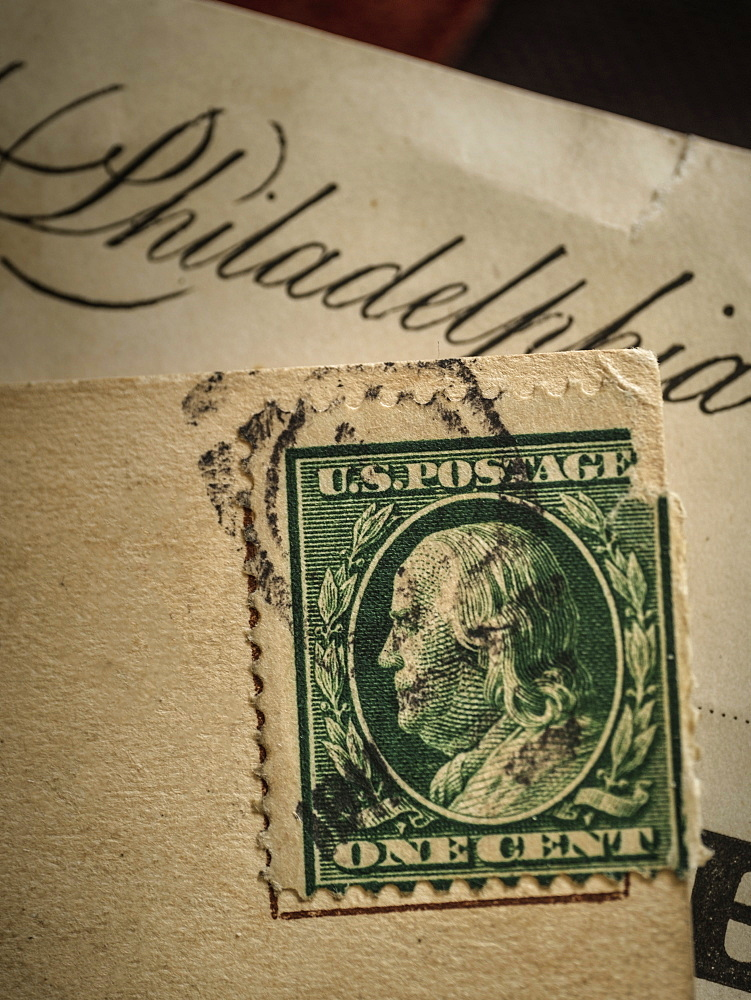 Postage stamp with Benjamin Franklin