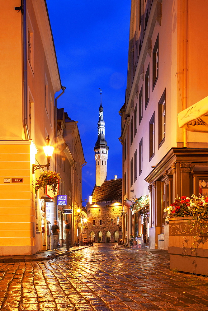Europe, Baltic States, Estonia, Tallinn, Old town street at night