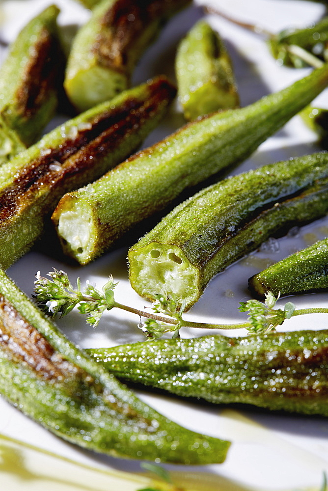Close up of roasted okra pieces - 1178-30331
