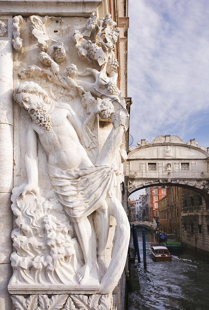 The Bridge of Sighs with sculpture depicting Drunkenness of Noah Doge's Palace Venice, Italy