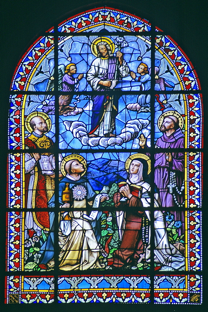 Stained glass window in Spanish church