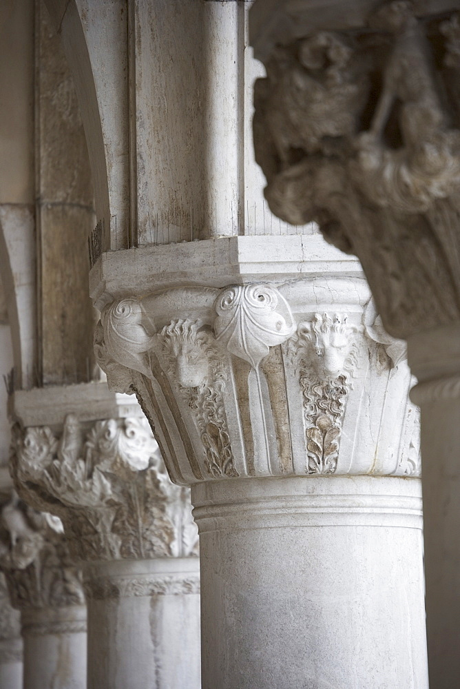 Column detail of the Doges' Palace Venice Italy