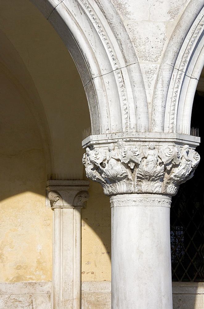 Column on the Doges' Palace Venice Italy