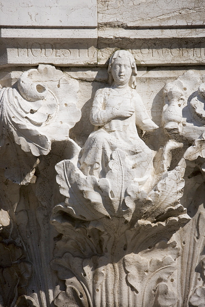 Column sculpture on Doges' Palace Venice Italy