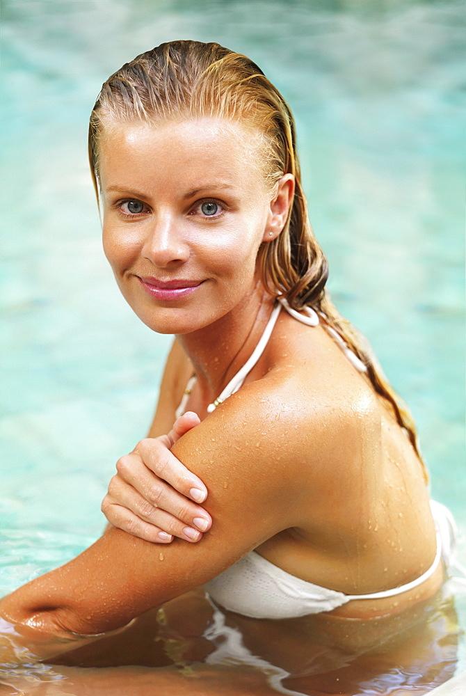 Woman enjoying bath spa