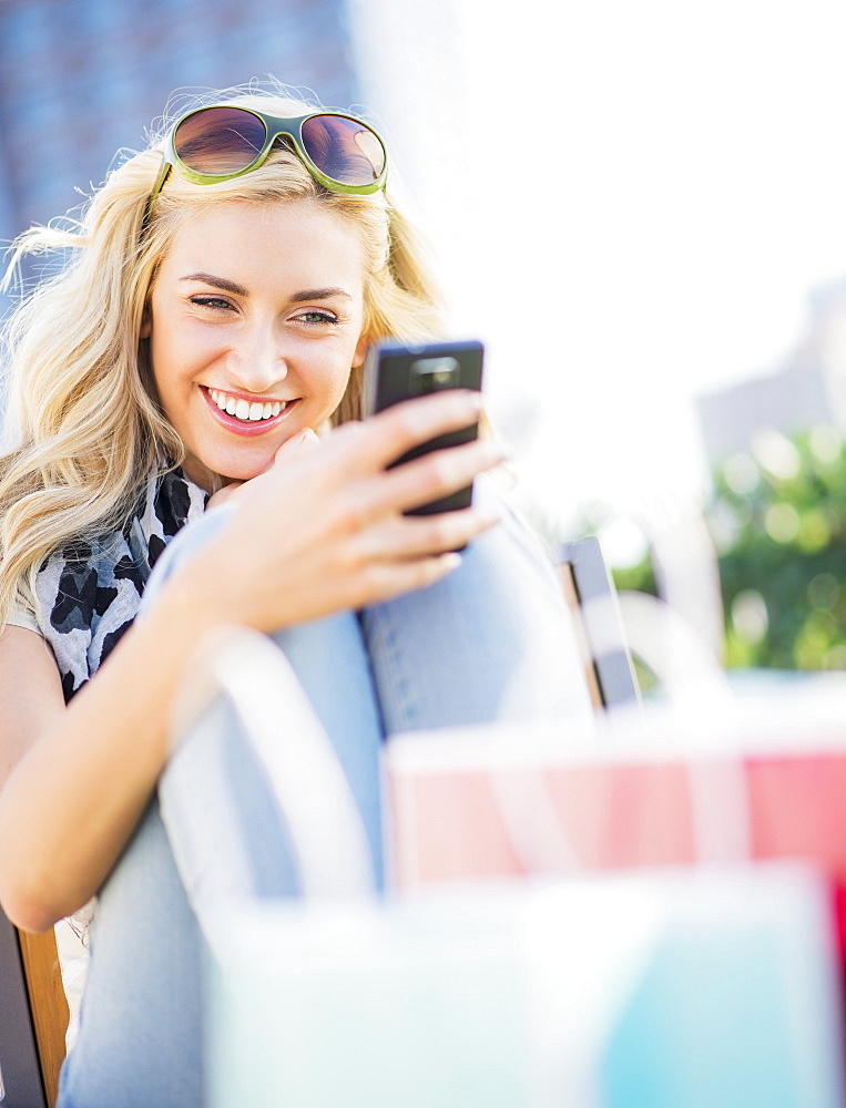 Teenage girl (16-17) using cell phone