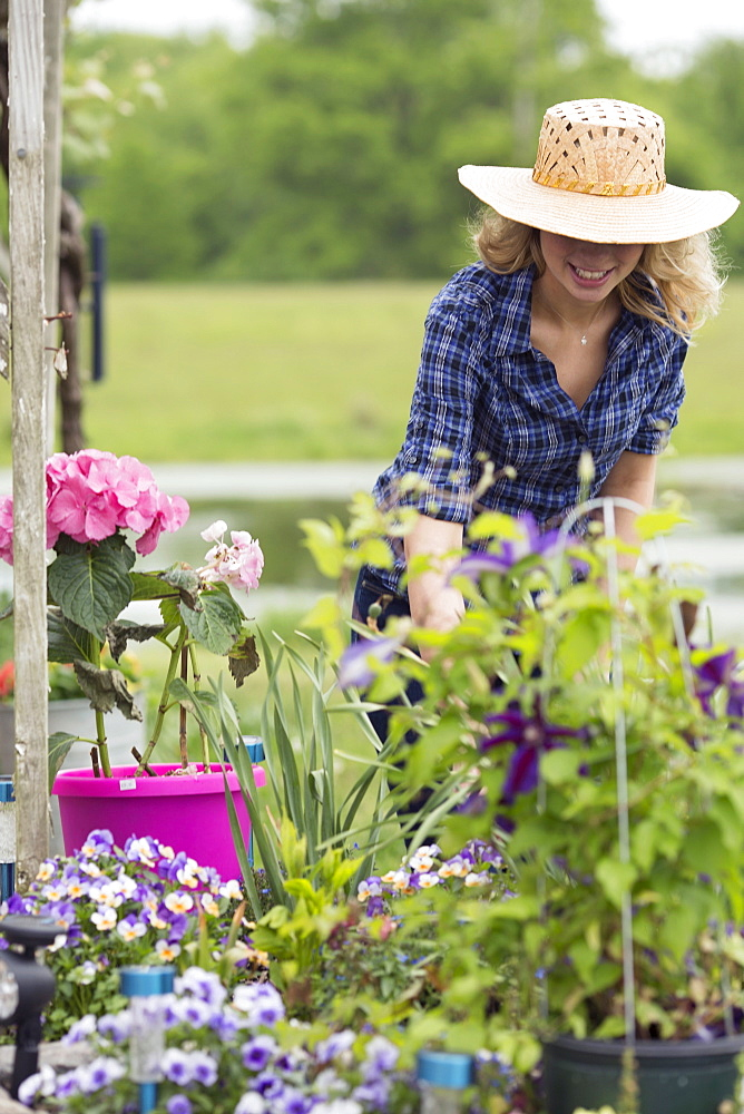 Young woman gardening, USA, New Jersey, Old Wick