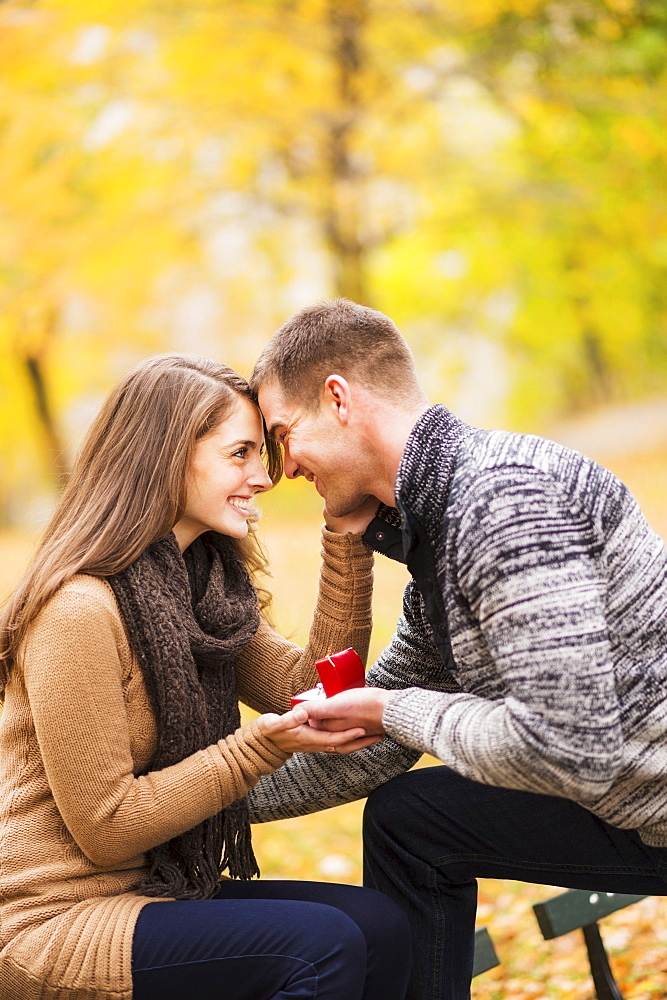 Young man proposing to young woman in Central Park, USA, New York State, New York City
