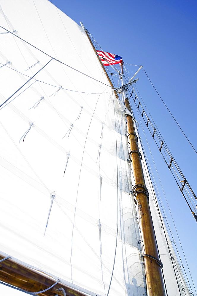 American flag on mast