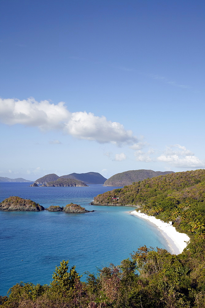 United States Virgin Islands, St. John, Landscape with sea bay, United States Virgin Islands, St. John