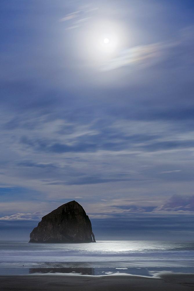 Haystack Rock at moonset, USA, Oregon, Pacific City