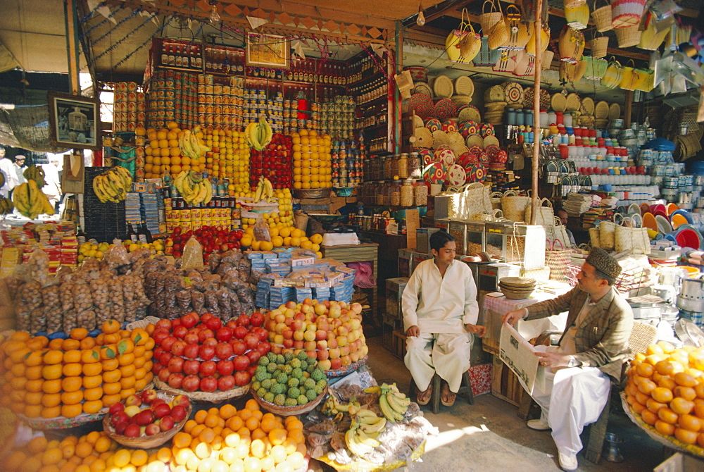 Fruit and basketware stalls in the market, Karachi, Pakistan